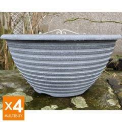 Striation Bowl Planter - Aged Black - x4 Multi Buy