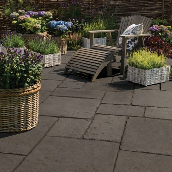 StoneFlair by Bradstone, Old Town Paving Dark Grey Patio Pack - 6.40 m2 Per Pack